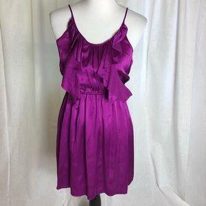 Rebecca Taylor silk ruffle Mini Dress purple sz 0